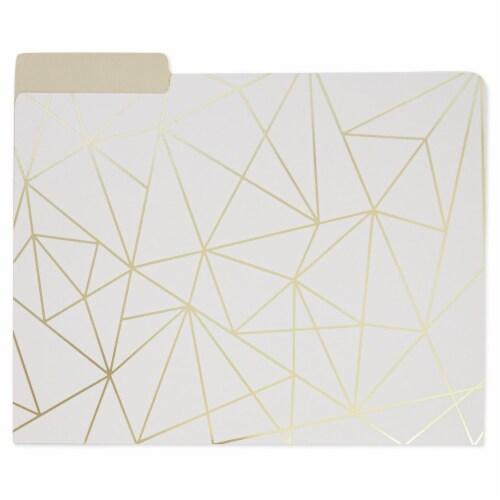 Decorative File Folders, 1/3 Cut Tab, Letter Size, Gold Foil Geometric (12 Pack) Perspective: left