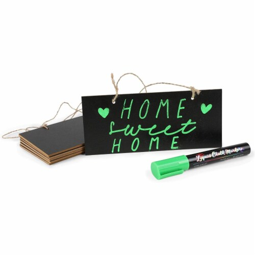 Mini Hanging Chalkboard Signs with Liquid Chalk Markers, Sticks (10 Pieces) Perspective: left