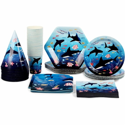 Shark Party Dinnerware, Banner, Plastic Tablecloth, Hats (Serves 24, 123 Pieces) Perspective: left