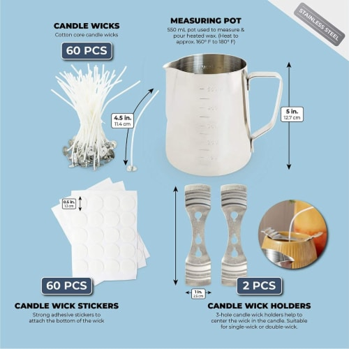 DIY Candle Making Kit with Measuring Pot, Wicks, Stickers, Wick Holders (123 Pieces) Perspective: left