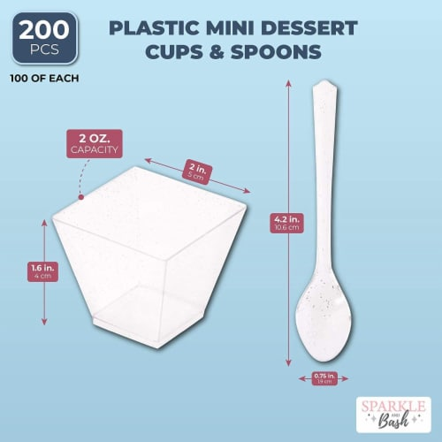 100 Silver Glitter Mini Dessert Cups with 100 Spoons (2 oz) Perspective: left