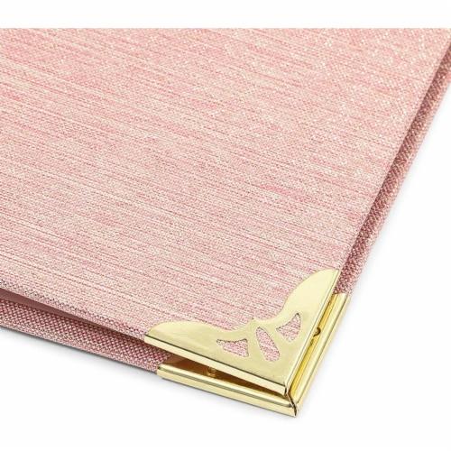 Pink Binder, Linen 3 Ring Binder, File Folder with Gold Hardware (1.5 in) Perspective: left