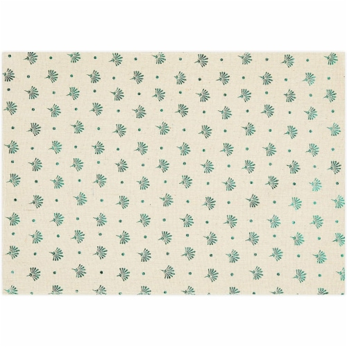 Ivory Dining Table Runner and Placemats, Set of 6, Green Foil (7 Pieces) Perspective: left