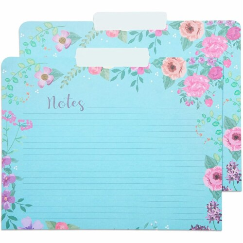 Decorative File Folders, 1/3 Cut Tab, Letter Size, Floral Notes Section (12 Pack) Perspective: left