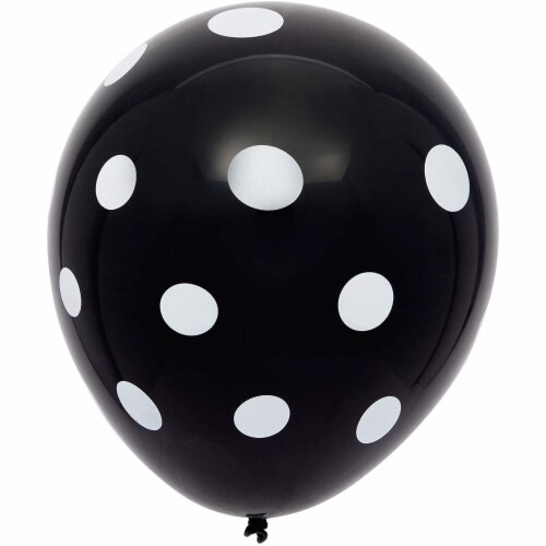 50 Pack Polka Dot Balloons with 1 Gold Balloon Weight and String (Black and White) Perspective: left