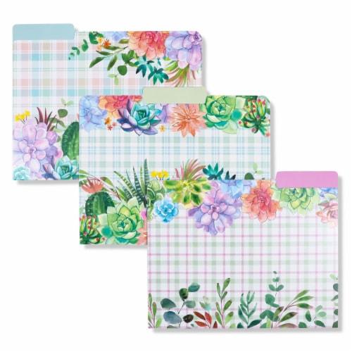Decorative File Folders, Cactus Succulents, 1/3 Cut Tab, Letter Size (12 Pack) Perspective: left