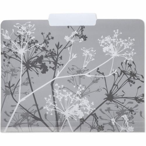 Plastic File Cabinet Folders 1/3 Cut Tab, Floral Designs (Letter Size, 6 Pack) Perspective: left