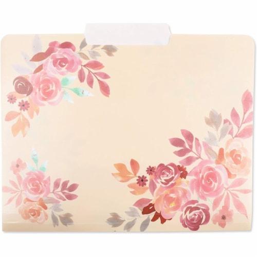Plastic Floral File Folders, 1/3 Cut Tabs (Letter Size, 6 Pack) Perspective: left
