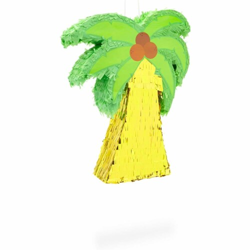 Tropical Palm Tree Luau Piñata for Summer Birthday Party (16.5 x 13 In) Perspective: left