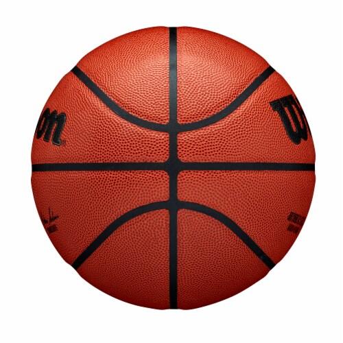 Wilson Sporting Goods NBA Authentic Indoor/Outdoor Intermediate Size Basketball - Orange/Black Perspective: left