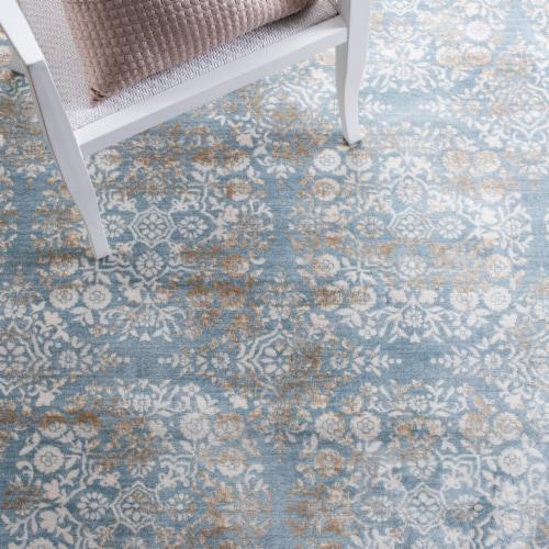 Martha Stewart Isabella Square Rug - Denim Blue/Ivory Perspective: left