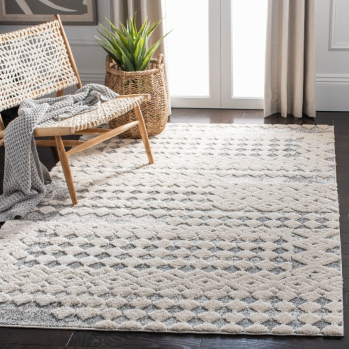 Martha Stewart Collection Lucia Shag Diamond Accent Rug - White/Light Gray Perspective: left