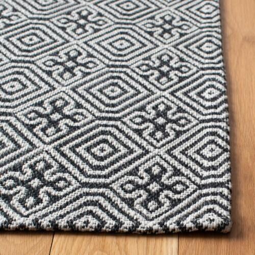 Martha Stewart Cotton Area Rug - Charcoal/Gray Perspective: left