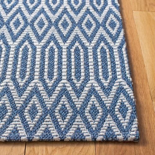 Martha Stewart Cotton Floor Runner Rug - Blue/Gray Perspective: left