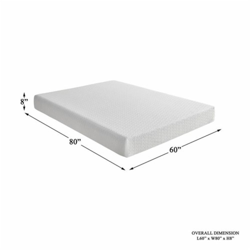Pemberly Row 8  Modern Fabric Queen Gel Memory Mattress in White Perspective: left