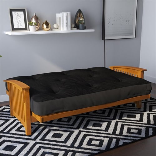 Pemberly Row 8 Inch Futon Mattress in Black Perspective: left