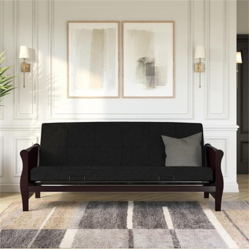 Pemberly Row 6 Inch Quilted Futon Mattress Full in Black Perspective: left