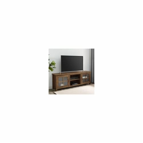 Home Square 2 Piece Set with Wood TV Stand and X Bookcase in Rustic Oak Perspective: left