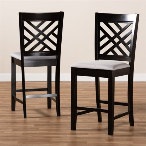Bowery Hill 25 H Upholstered Wood Bar Stool in Gray and Brown (Set of 2) Perspective: left