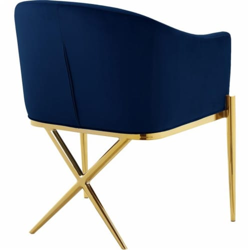 Home Square 2 Piece Velvet Dining Chair Set with Gold Metal Base in Navy Blue Perspective: left