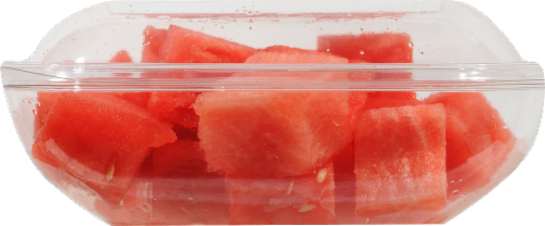 Seedless Cubed Watermelon - Large Fruit Cup Perspective: left