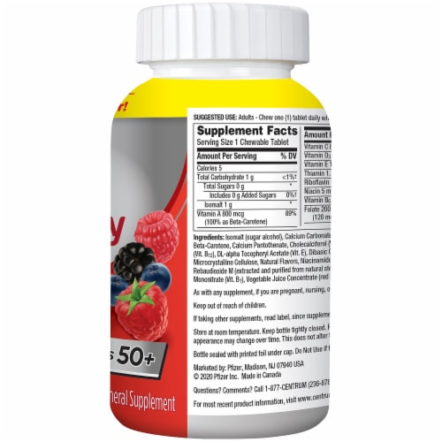 Centrum Adults Fresh & Fruity Mixed Berry Chewable Tablets Perspective: left