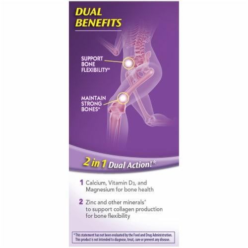 Caltrate Bone Health Advanced 2-in-1 Dual Action Calcium Supplement Tablets Perspective: left