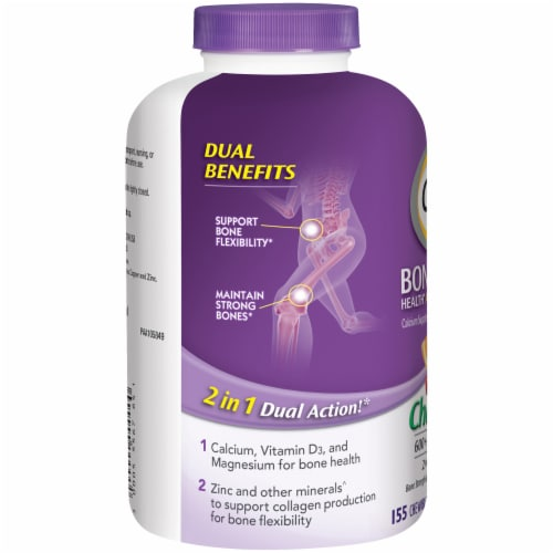 Caltrate Bone Health Advanced Cherry Orange & Fruit Punch Flavored Calcium Chewable Tablets Perspective: left