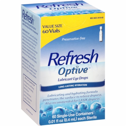 Refresh Optive Lubricant Eye Drop Vials Value Size Perspective: left