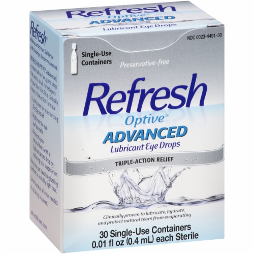Refresh Optive Advanced Preservative Free Triple-Action Relief Lubricant Eye Drops Perspective: left