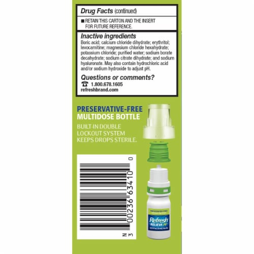 Refresh Relieva Preservative Free Lubricant Eye Drops Perspective: left
