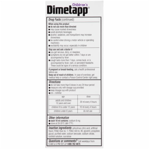 Dimetapp Children's Grape Cold & Cough Liquid Medicine Perspective: left