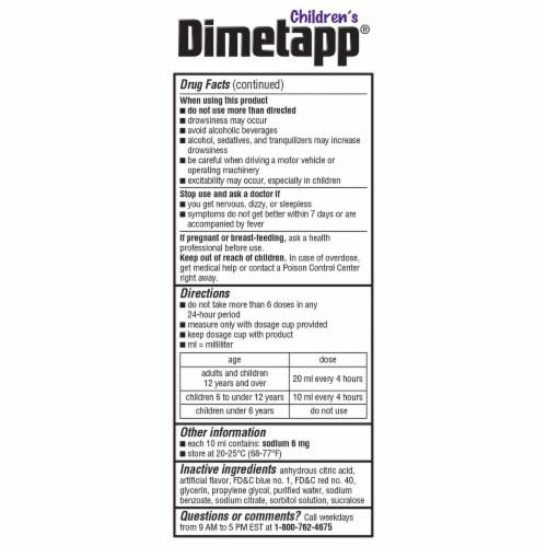 Dimetapp Children's Cold & Allergy Liquid Antihistamine & Decongestant Perspective: left