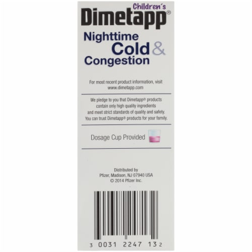 Dimetapp Children's Nighttime Cold & Congestion Grape Flavor Liquid Decongestant Perspective: left