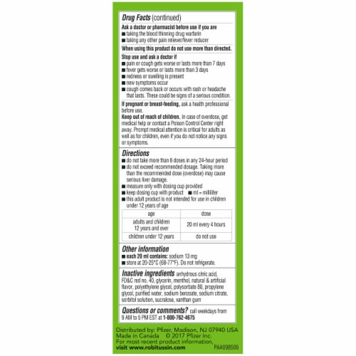 Robitussin Adult CF Maximum Strength Severe Cough + Sore Throat Strong Cooling Liquid Perspective: left