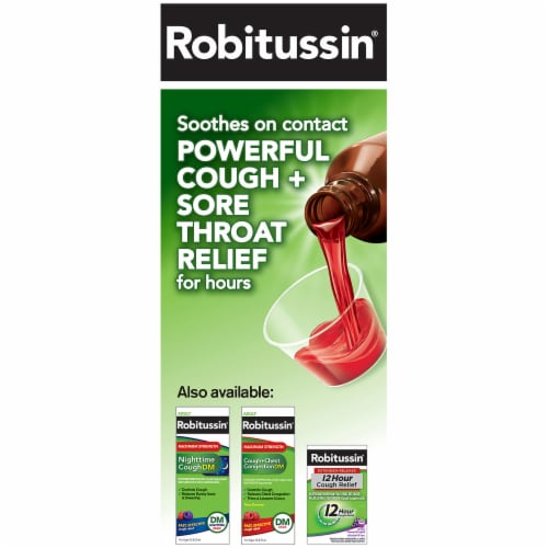 Robitussin Severe Cough plus Sore Throat CF Max Medicine Perspective: left