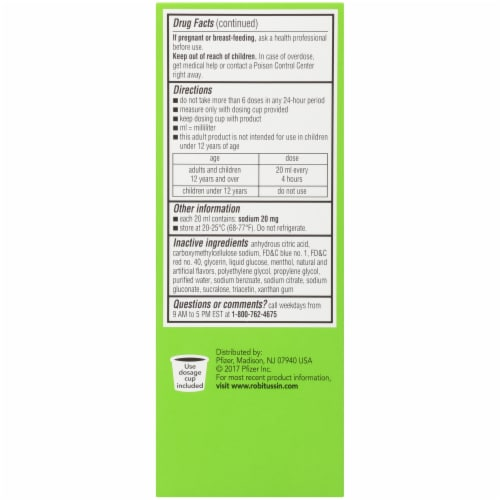Robitussin Adult Berry Non Drowsy Cough+Chest Congestion DM Medicine Perspective: left