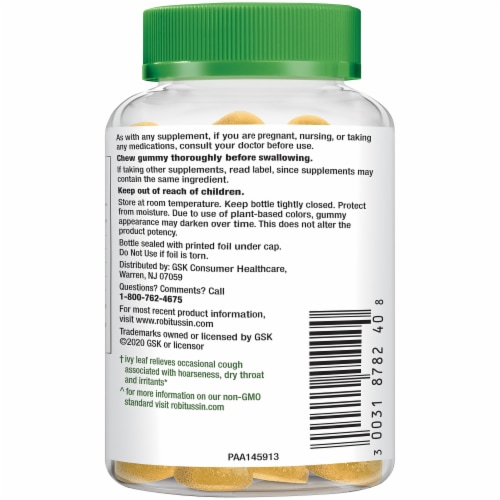 Robitussin Naturals Cough Relief Ivy Leaf Gummies 30 Count Perspective: left