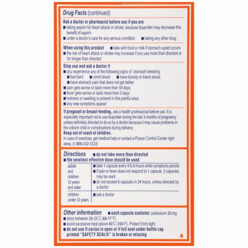 Motrin Ibuprofen Liquid Gels 200mg Perspective: left
