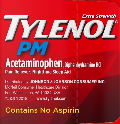 Tylenol PM Extra Strength Pain Reliever & Sleep Aid Caplets Perspective: left