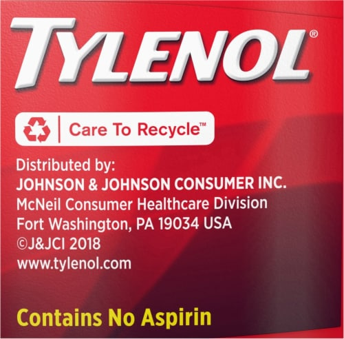 Tylenol Acetaminophen Adult Pain Relief & Fever Reducer Extra Strength Coated Tablets 500mg Perspective: left
