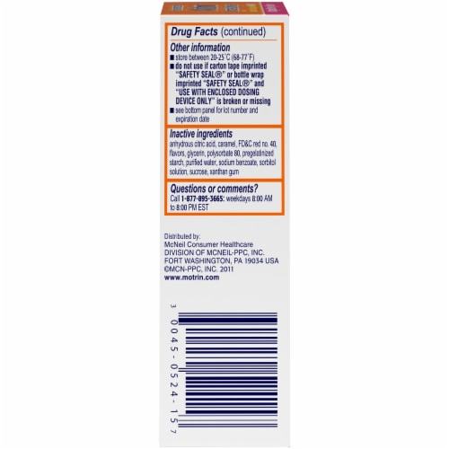 Motrin Infants' Drops Original Berry Flavor Ibuprofen Oral Suspension Perspective: left