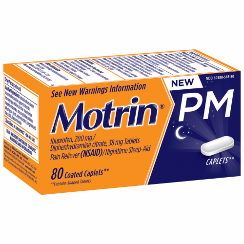 Motrin PM Pain Reliever & Nighttime Sleep-Aid Coated Caplets 200mg Perspective: left