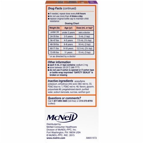 Motrin Children's Grape Flavor Oral Pain Relief Liquid Perspective: left