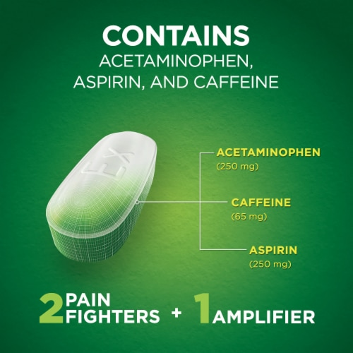 Excedrin Extra Strength Pain Reliever Caplets Perspective: left