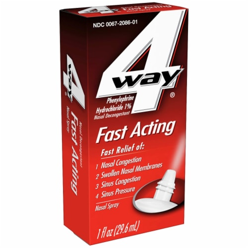 4 Way Fast Acting Phenylephrine Hydrochloride Nasal Decongestant Spray Perspective: left