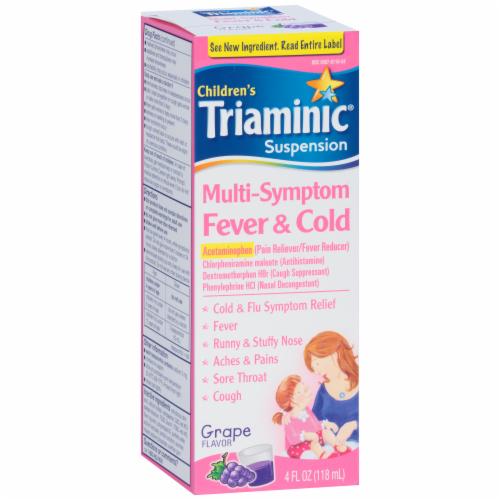 Triaminic Children's Grape Flavored Multi-Symptom Fever & Cold Liquid Medicine Perspective: left