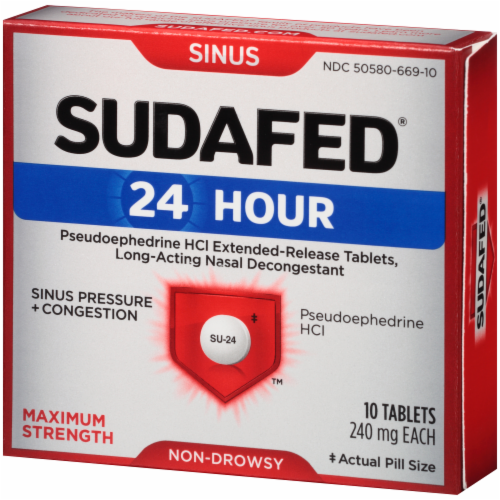 Sudafed 24-Hour Non-Drowsy Sinus Pressure + Congestion Maximum Strength Tablets Perspective: left