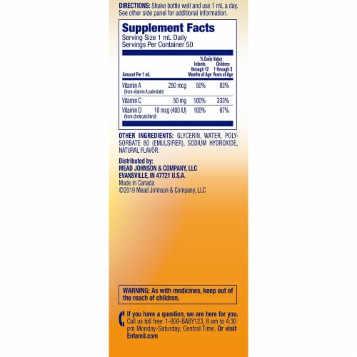 Enfamil Tri-Vi-Sol Liquid Multivitamin Supplement Drops Perspective: left