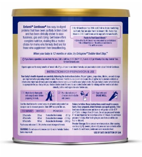 Enfamil Gentlease Milk-Based Infant Formula Powder Perspective: left